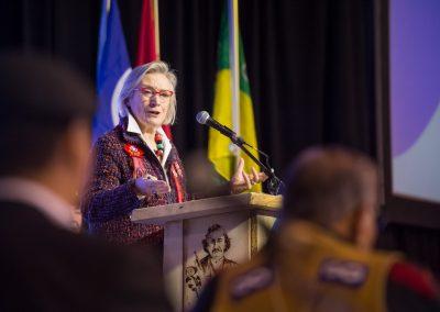 Minister Bennett at the Métis podium